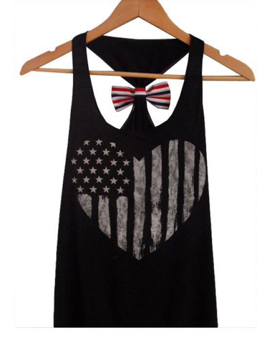 womens American Flag Back Bowknot Tank Top - BLACK S