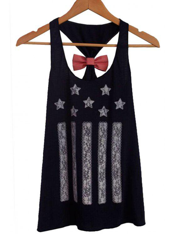 new Stripe Star Print Bowknot Tank Top - BLACK S