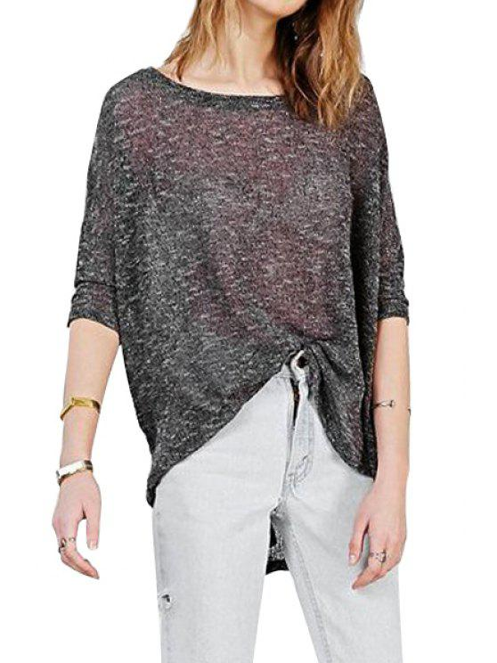 trendy High Low Solid Color Long Sleeve T-Shirt - BLACK S