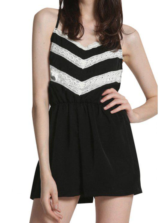 chic Color Block Spaghetti Straps Romper - WHITE AND BLACK S
