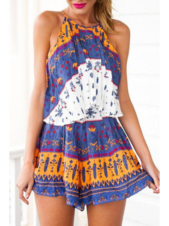 online Print Layered Spaghetti Straps Dress - DEEP BLUE S