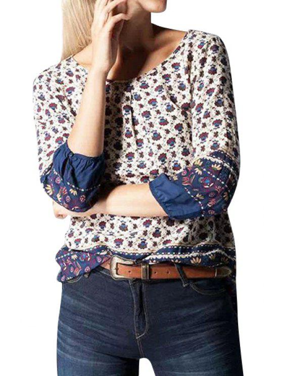 outfit Tiny Floral 3/4 Sleeve Blouse - PURPLISH BLUE S