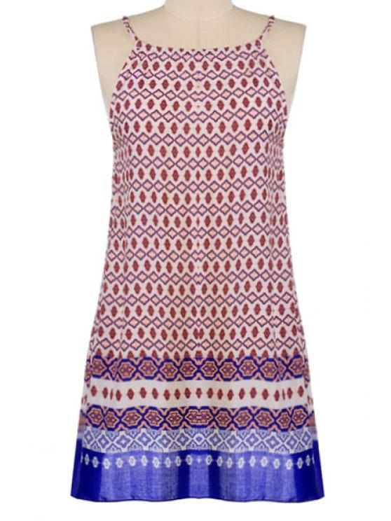trendy Geometric Pattern Spaghetti Straps Dress - DEEP RED ONE SIZE(FIT SIZE XS TO M)