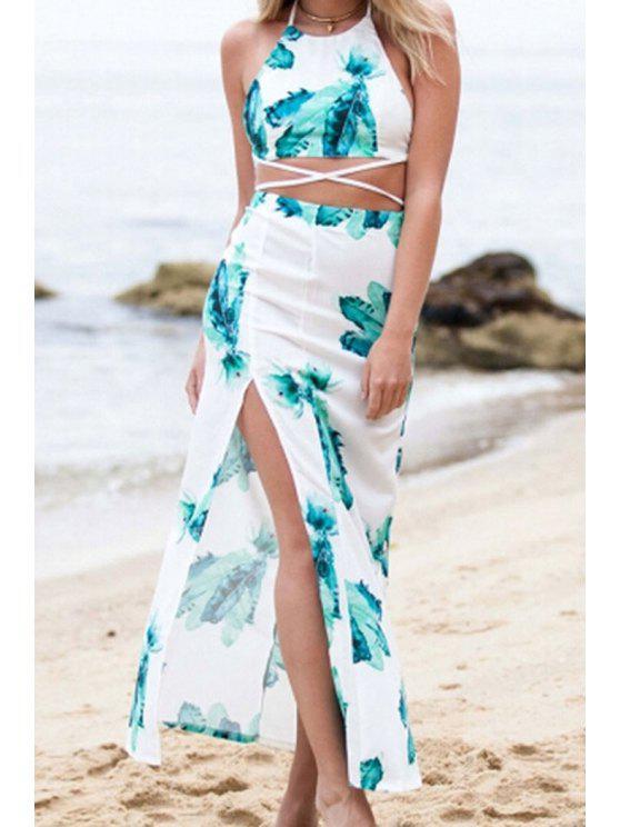 women Spaghetti Straps Crop Top and Flower Print Skirt Suit - BLACKISH GREEN S