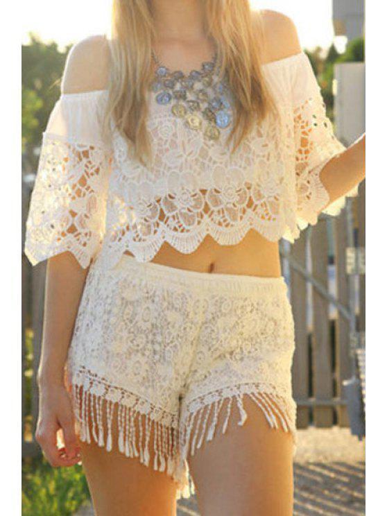 shops White Lace Slash Neck Crop Top - WHITE M