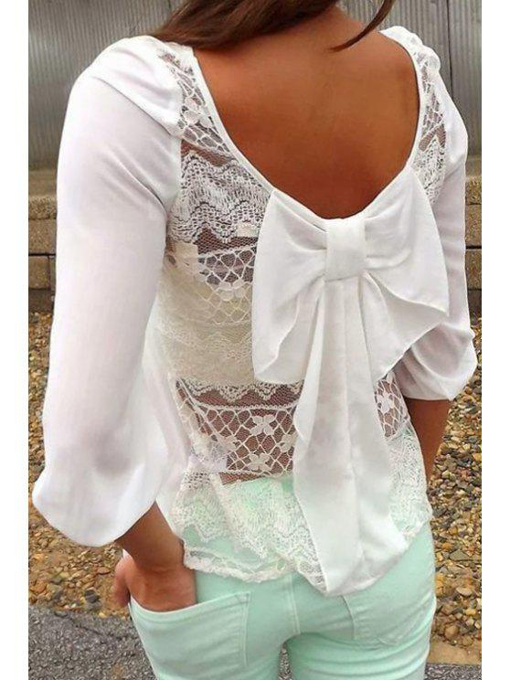 buy Back See-Through Lace Bowknot T-Shirt - WHITE S