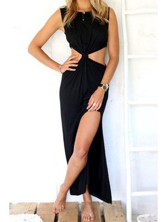 womens Waist Hollow Out Solid Color Maxi Dress - BLACK M