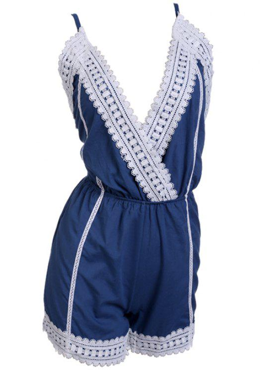 new Spaghetti Strap Cross Tie-Up Lace Splicing Romper - BLUE AND WHITE M