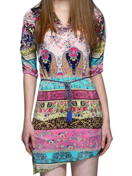chic Tiny Floral Print Asymmetrical Half Sleeve Dress - COLORMIX M