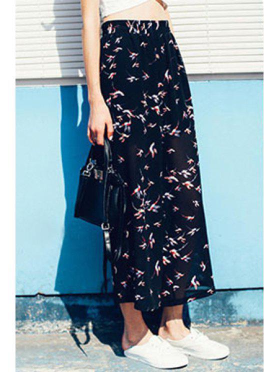 ladies Wide Leg Print See-Through Pants - BLACK M