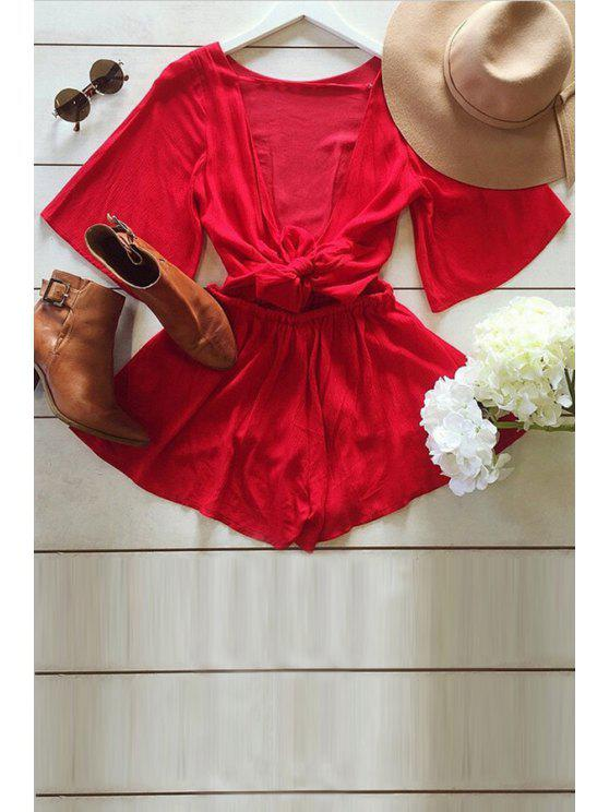 fancy Backless Tie-Up Solid Color Half Sleeve Romper - RED XL