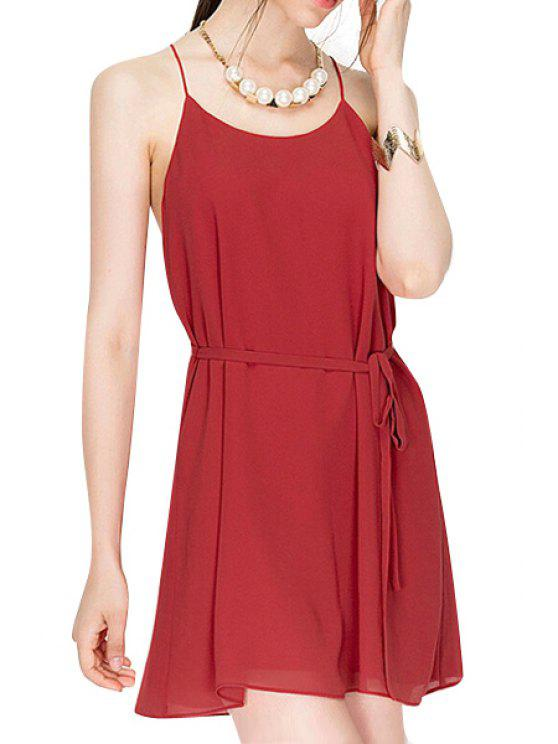 outfit Spaghetti Strap Tie-Up Backless Solid Color Dress - WINE RED S
