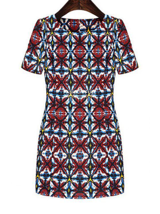 outfits Jewel Neck Color Block Plaid Print Dress - COLORMIX S