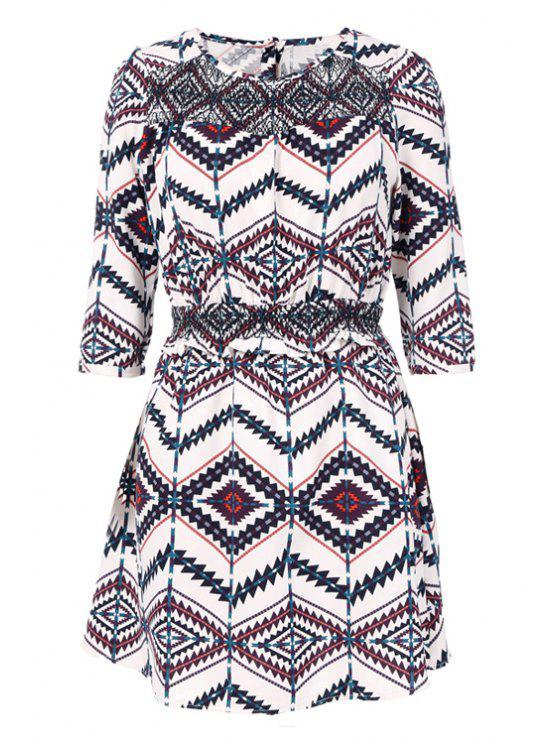 shop Half Sleeves Argyle Print Dress - BLACK S