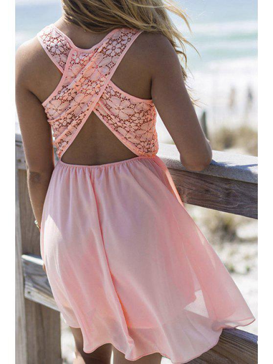fancy Lace Spliced Jewel Neck A-Line Sundress - WATERMELON RED S