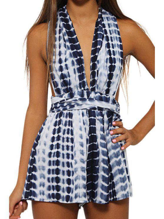 online Plunging Neck Blue White Stripe Backless Romper - BLUE AND WHITE S