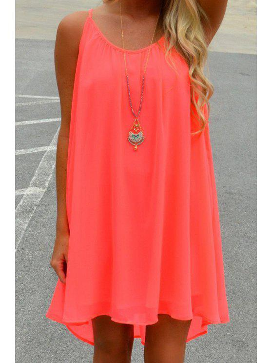 lady Mesh Panel Smock Tunic Dress - RED XL