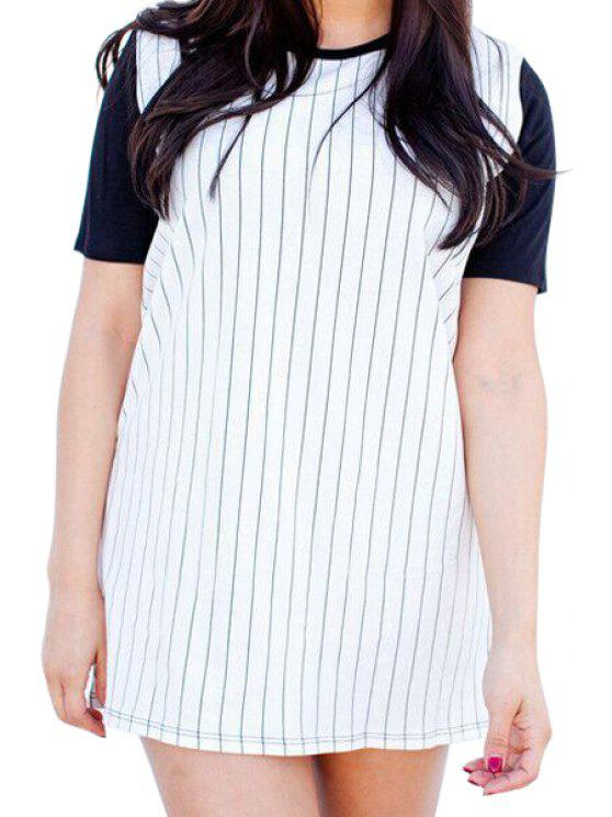 hot V-Neck Stripe Color Block T-Shirt - WHITE S