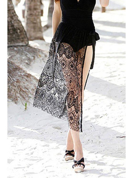 outfit Lace See-Through Solid Color Skirt - BLACK ONE SIZE(FIT SIZE XS TO M)