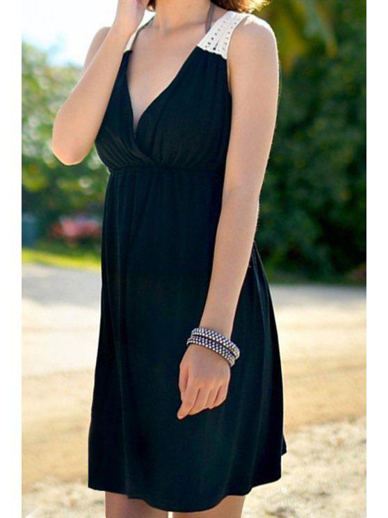 online Crochet Spliced Sleeveless Dress - BLACK ONE SIZE(FIT SIZE XS TO M)