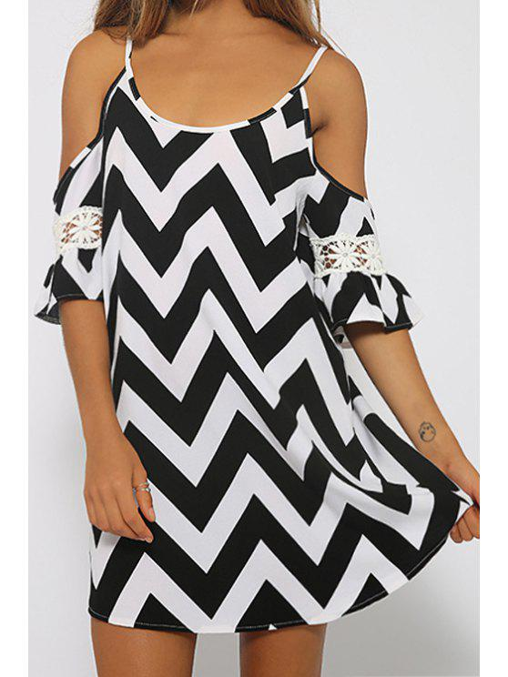 lady Spaghetti Strap Zig Zag Lace Splicing Dress - BLACK L