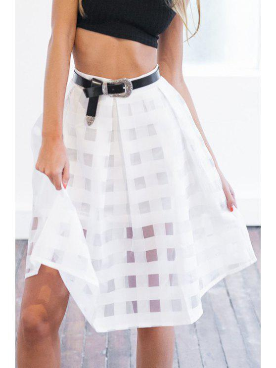 shops Plaid Pattern See-Through Solid Color Skirt - WHITE S
