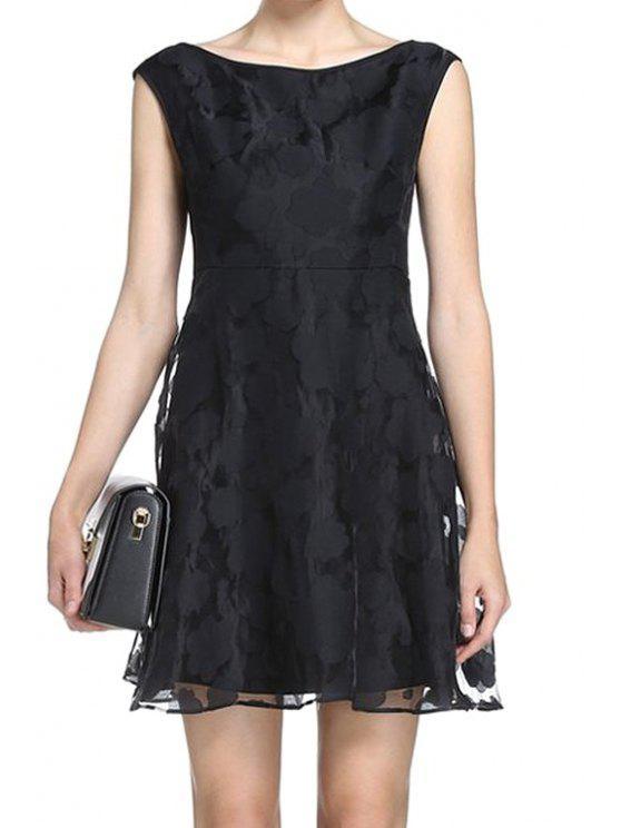 buy Black Voile Sleeveless A-Line Dress - BLACK S