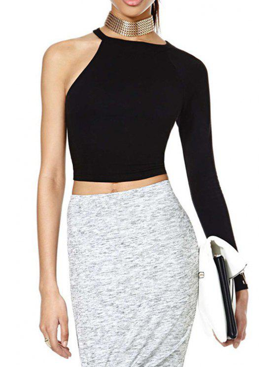 women Black One-Shoulder Crop Top - BLACK S