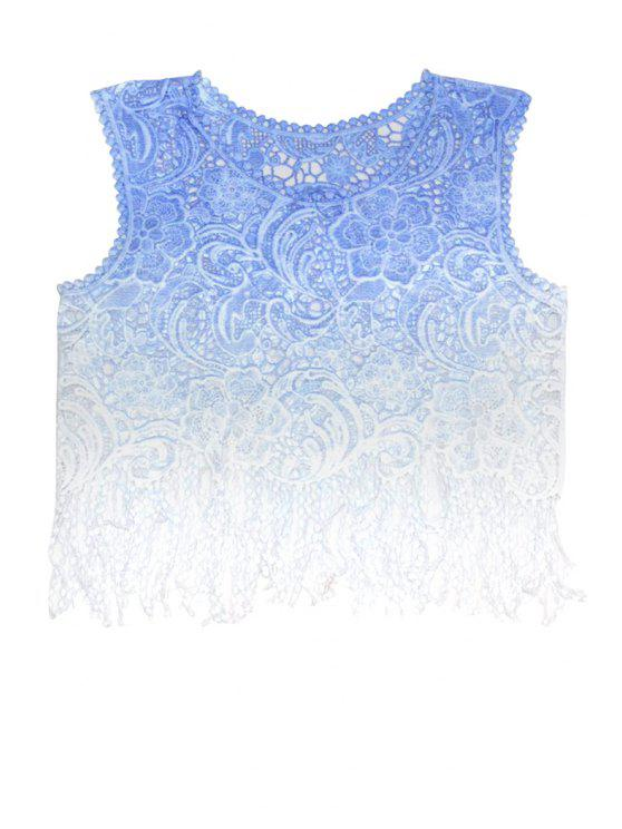 best Floral Pattern Color Block Fringe Tank Top - BLUE ONE SIZE(FIT SIZE XS TO M)