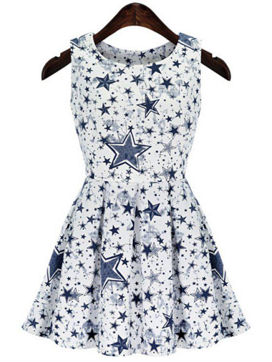 trendy Full Star Print Sleeveless Dress - BLUE AND WHITE S