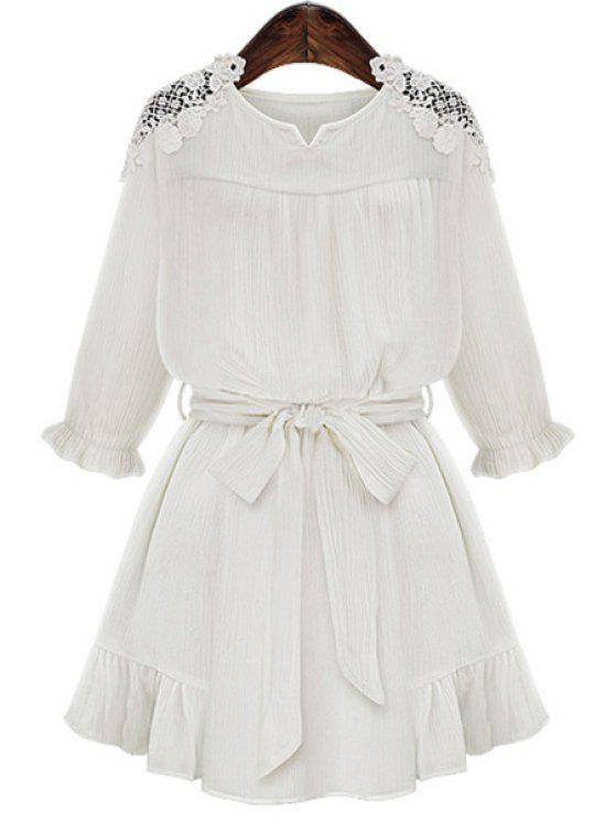 women's Lace Splicing Flounce Tie-Up 3/4 Sleeve Dress - WHITE S