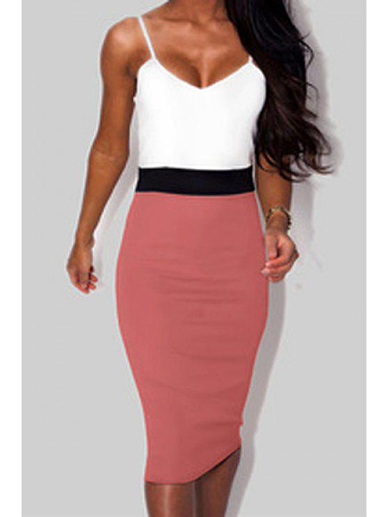 fashion Pink White Spaghetti Strap Color Block Dress - PINK AND WHITE S