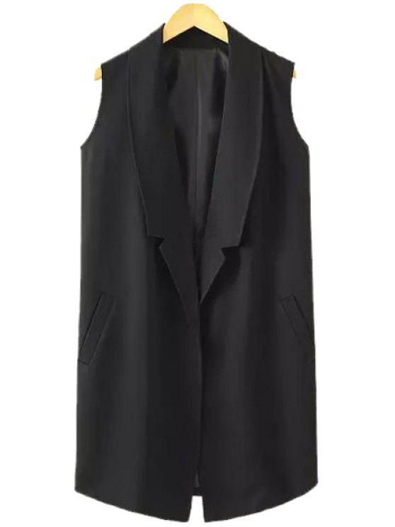 chic Lapel Solid Color Pocket Sleeveless Waistcoat - BLACK S