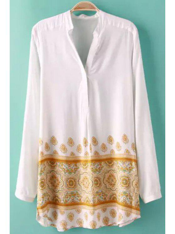 buy Yellow Print Long Sleeve Shirt - WHITE S