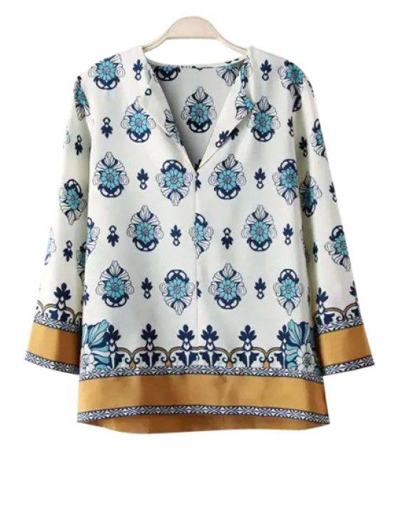 lady Floral Print Loose-Fitting 3/4 Sleeve Shirt - WHITE S