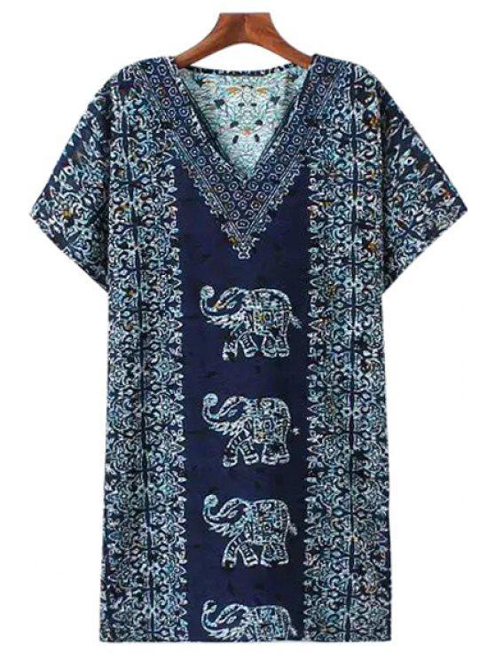 best Elephant Print Short Sleeve Dress - COLORMIX S