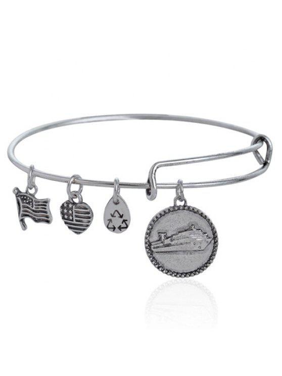 best Trendy Heart Round Drop Pendant Bracelet For Women - SILVER