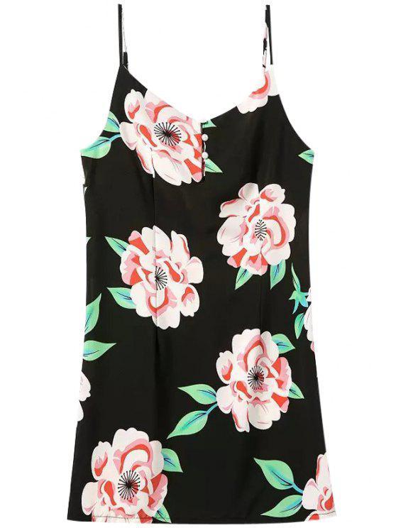 shop Spaghetti Strap Floral Print Zipper Dress - BLACK S