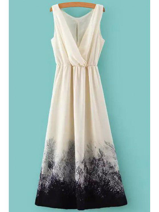 Color Block Imprimer taille élastique Maxi Dress - Blanc L