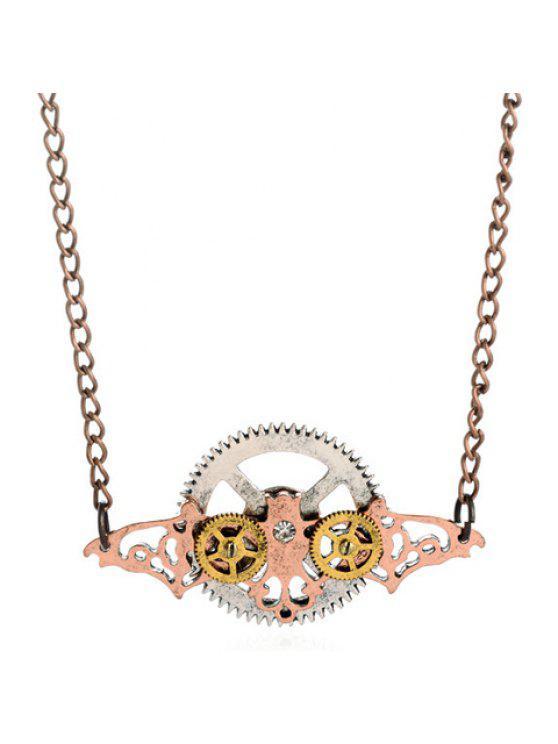sale Retro Wings Round Pendant Necklace For Men - COPPER COLOR