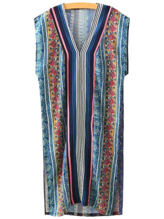 shops Floral Print Stripe Sleeveless Dress - COLORMIX S