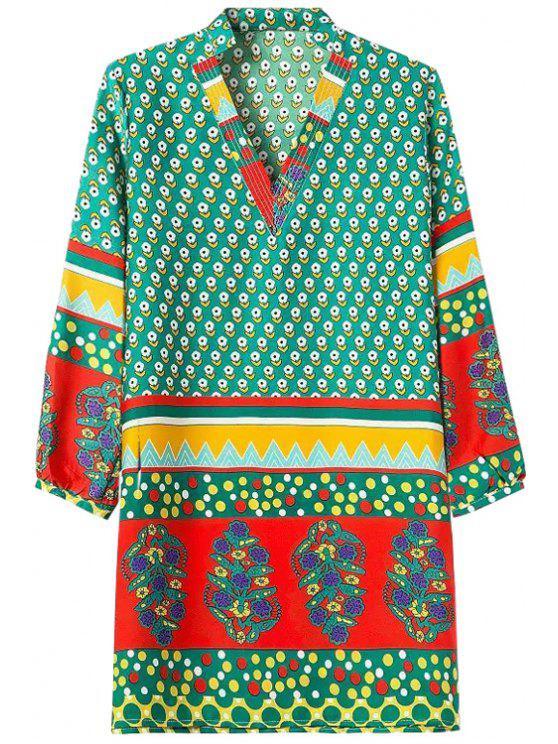 sale Tiny Floral Print Color Block Long Sleeve Dress - COLORMIX S