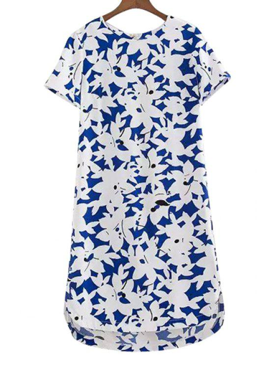 best White Floral Print High Low Short Sleeve Dress - BLUE AND WHITE S