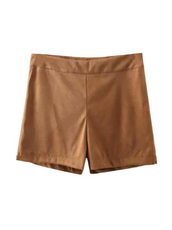 womens Solid Color Side Slit Zipper Fly Shorts - KHAKI S