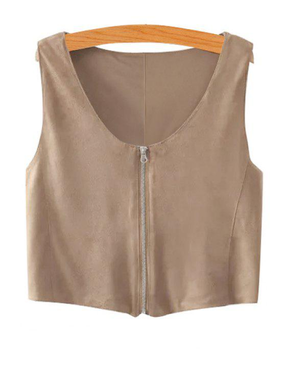 women Solid Color Suede Sleeveless Waistcoat - KHAKI S