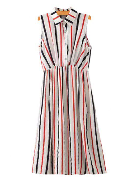 ladies Turn-Down Collar Color Block Stripe Midi Dress - COLORMIX S