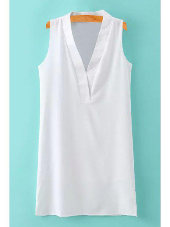 new V-Neck Slit Solid Color Sleeveless Dress - WHITE S