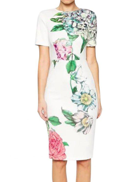 shops Floral Print Slimming Short Sleeve Midi Dress - WHITE S
