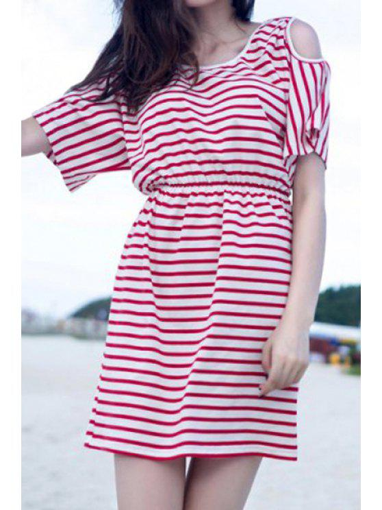 chic Stripes Off-The-Shoulder Dress - RED WITH WHITE S