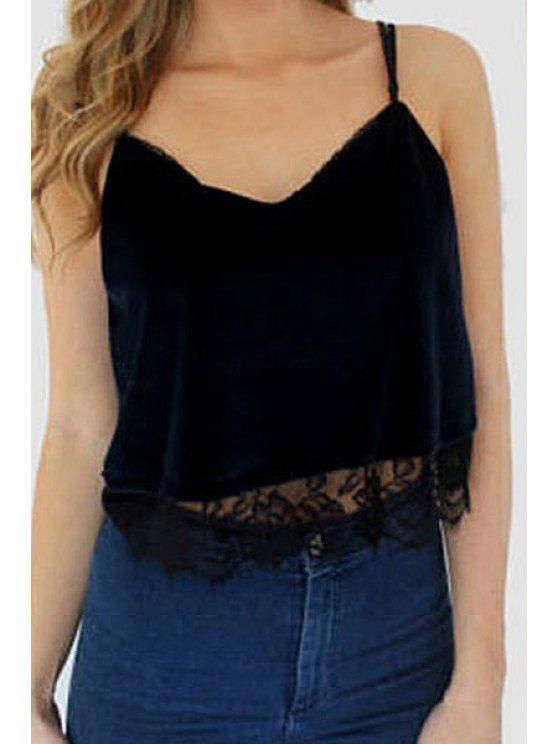 women Solid Color Lace Splicing Crop Top - BLACK S